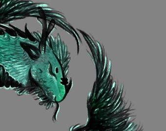 Fine Art Digital Illustration Metallic Print of Blue Green Dragon