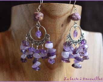 """Cascade of amethyst"" earrings"