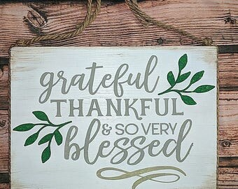 Grateful Sign, Thankful Sign, Blessed Sign, Rustic, Gifts, Kitchen Decor