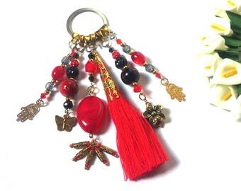 Keyring with Tassel - Red / Black / Gold beads and pendants - Butterfly / Flower / Hand Fatima / Hamsa - Happiness - Fashion Keyring