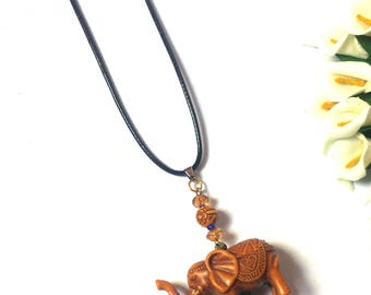 Necklace Elephant For Men and Women - Leather Necklace - Brown Beads - Brown Elephant Pendant - Boho - Statement Necklace - Necklace Animal