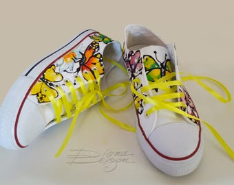 Butterfly Sneakers, Hadpainted Shoes, Butterflies Shoes, Hand Painted Sneakers Footwear Butterflies Handpainted Butterfly Footwear Shoes Art