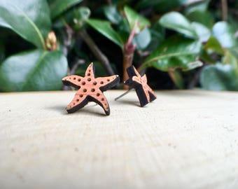 Starfish Earrings, Starfish Studs, Stud Earrings, Beach Jewelry, Ocean Jewelry, Nautical Jewelry, Starfish, Beachy, Wood Jewelry, laser cut