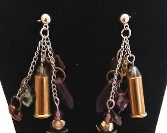 Dangle .22 Bullet Casing Earrings- Purples