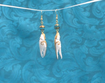 White & Gold Crawfish Claw Earrings with Blue Bead