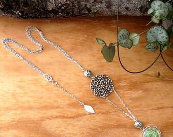"""Colllier Jade : chaîne, estampe et feuille argentées, bijou femme nature, cabochon succulent, illustration plante grasse """"Echeveria"""""""