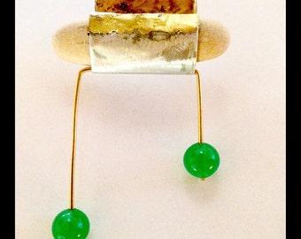 earring unique piece green agate sea stone handmade