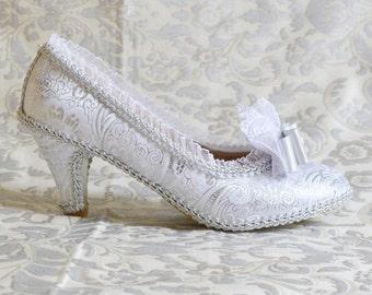 Princess shoes Baroque rococo style fantasy costume Venice Carnival costume Cinderella silver Marie Antoinette white lace