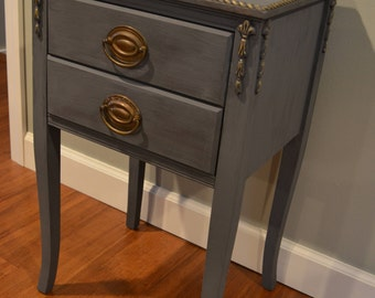 Vintage Painted 2-Drawer Side Table - PICK UP ONLY