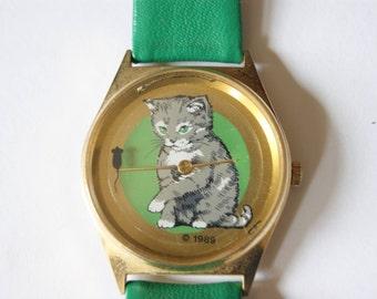 Vintage cat watch