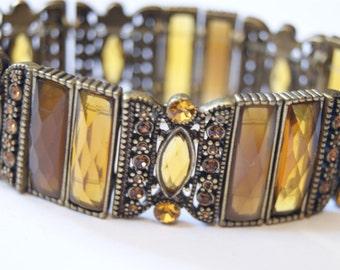 Amber and bronze bracelet
