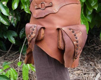 Brown Leather Loincloth / Loincloth / Leather Waist Bag / Loincloth with Patch Pockets