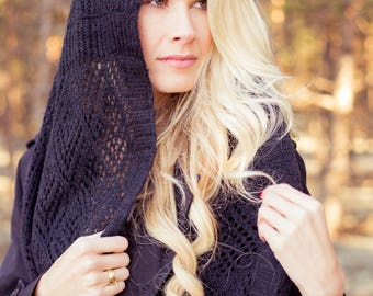"""Black Hand Knitted Scarf """"Annalise"""""""