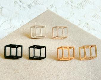 3D Cube stud earrings, Flat square earrings, Geometric cube earrings, Gold Silver Black Geometric stud earrings, 3D art earrings, Flat cube