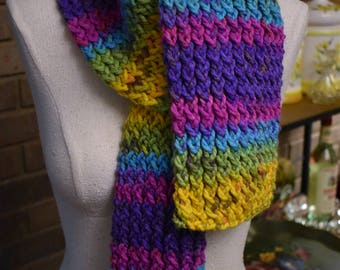 Hand Knit 'Tropical Thoughts' (Turquoise Purple Green Yellow Hot Pink) Striped Serenity Scarf