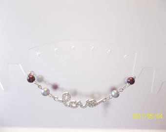 Burgandy & Gray Love Bracelet