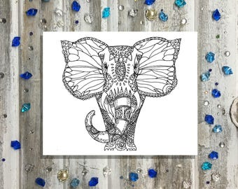 Color Your Own Elephant with Butterfly Ears- Relaxing- calming and healing art