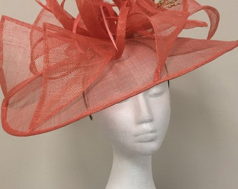 Large Dark peach fascinator perfect for races and weddings