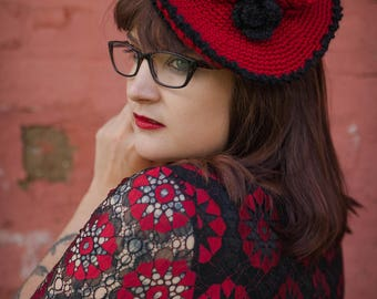 Vintage Style Crochet Black & Red Rose Beret