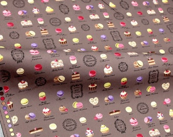 Japanese Fabric Petit Sweets Macaron Yuwa Canvas - Brown - fat quarter