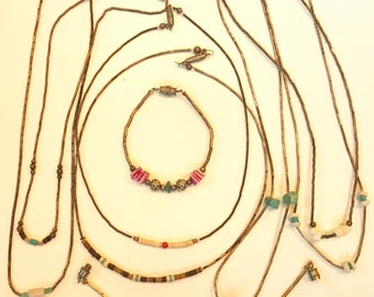 Vintage Sterling Silver Turquoise and Coral 1970s Hippie Choker Necklaces and Bracelets Lot