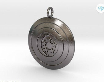 Captain Singapore Shield pendant  / polished nickel steel