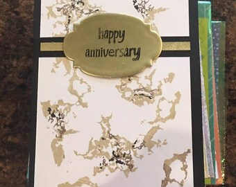 Faux marble Anniversary Greeting card