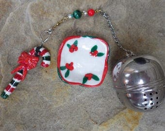 Candy Cane Christmas Tea Infuser with Holly Dish