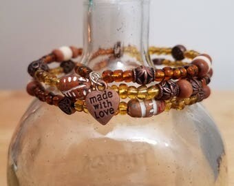 Made with Love Brown Tones Memory Wire Bangle Bracelet Coil Wrap Multicolor Design Handmade Earth Tones