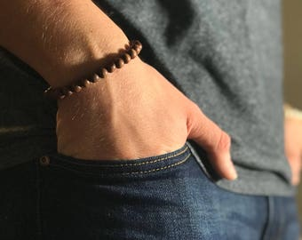 Wood Bead Bracelet, Wood Bracelet Men, Wooden Bracelet Men, Beaded Bracelet, Wooden Bracelet Men, Manly Gift Mens Gift, Mens Beaded Bracelet