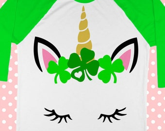 St Patricks Day SVG - Unicorn svg - Shamrocks svg - Unicorn face svg - Heart svg - Clover svg - Iron on - Printable - SVG - dxf -png-pdf-eps