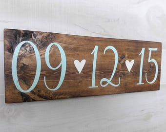 Wood Date Sign | Wooden Date Sign | Wedding Date Sign | Anniversary Date Sign | Wedding Decor | Save The Date Sign | Engagement Photo Prop