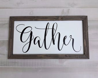 Large Gather Sign | Framed Gather Sign | Wood Gather Sign | Gather Farmhouse Sign | Rustic Wall Art | Dining Room Sign | Fall Gather Sign
