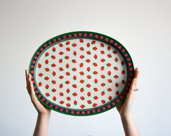 Strawberry metal serving tray
