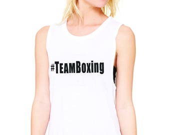 womens Team Boxing White Tee Shirt - McGregor v Mayweather - Choose your side