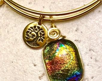 Twilight Sky Dichroic Glass Bracelet, Dichroic Glass Jewelry