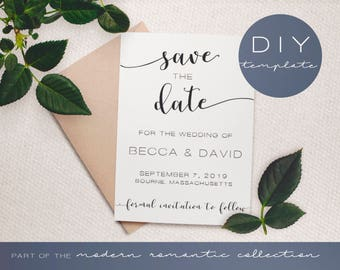 Save the Date Templates - Modern Romantic Collection  - Save the Date - DIY Printable Black and White