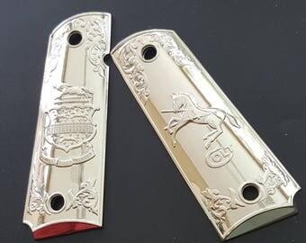 1911 colt pistol grips colt defender grips fullsize government 24K gold plated
