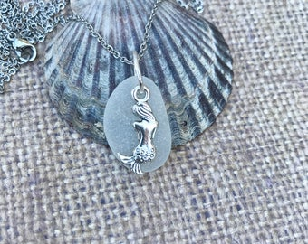 Sea Glass Necklace - Mermaid Charm Necklace - Beach Necklace