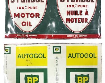 Vintage Sturdol Motor Oil and Autogol BP Detergent Metal Cans, Imperial Quart