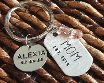mom keychain with establishing date and crystal beads