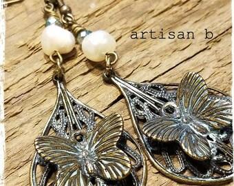 Vintage Brass Freshwater Pearl Butterfly Earrings Gypsy Romance Boho Bohemian