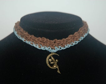 Choker: Fairy on the Moon, Brown and Sky Blue