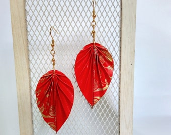 Upcycle, Origami Earrings, Leaf shape, Lucky Red