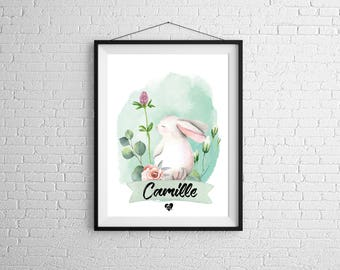 Personalized rabbit poster