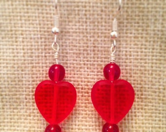 Handmade Love Heart Glass Beaded Drop Earrings