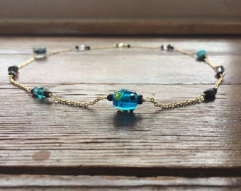 Blue Earth Beaded Chain Necklace