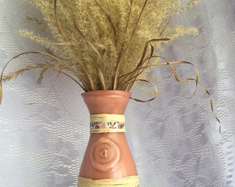 Hand Crafted Glass, Fabric and Raffia Vase