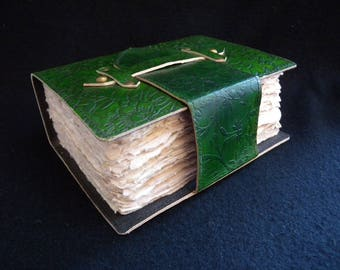 Handmade Leather Journal - Hand-Tooled Floral Design - with DECKLED Cotton Paper