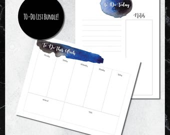 PRINTABLE To-Do List BUNDLE: Black and Blue Watercolor